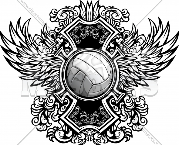 Volleyball Ornate Graphic Vector Template