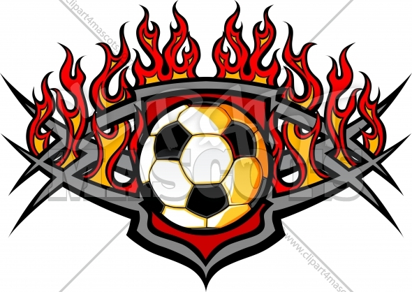 Soccer Ball Template with Flames Vector Image