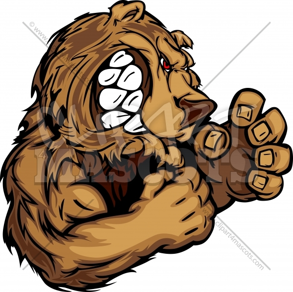 Bear Mascot with Fighting Hands Graphic Vector Image