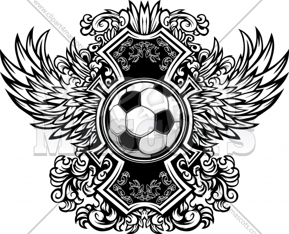 Soccer Ball Ornate Graphic Vector Template