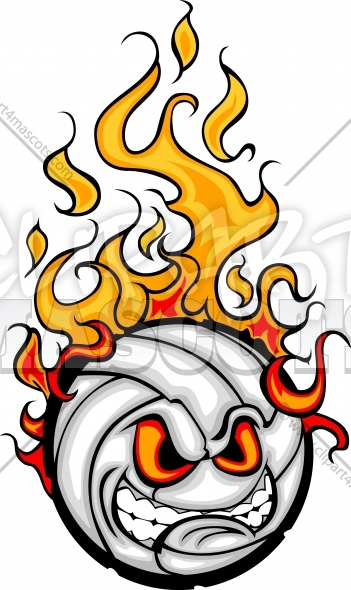 Volleyball Flaming Face Vector Clipart Image