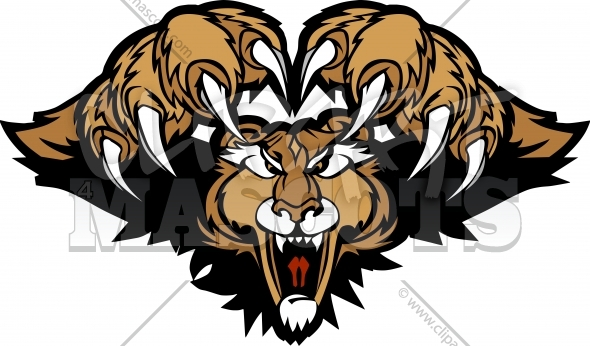 Cougar Puma Mascot Pouncing Graphic Illustration