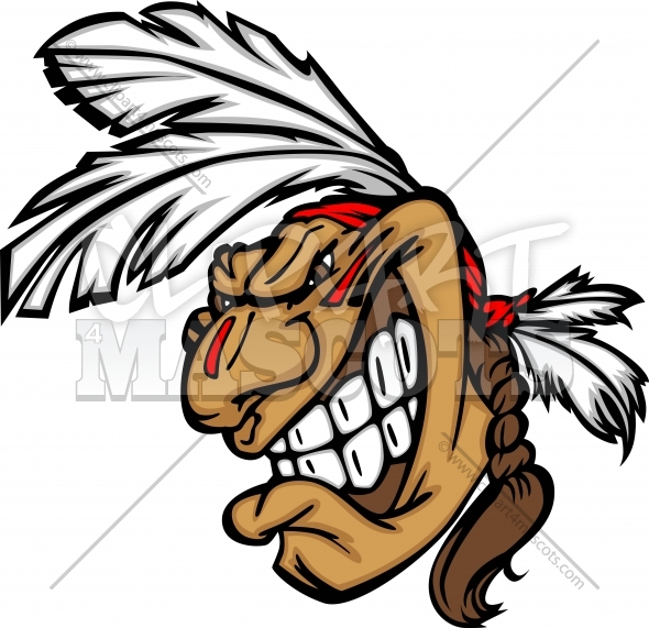 Grinning Indian Brave Mascot Head Vector Cartoon