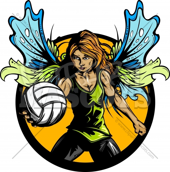 Female Volleyball Player with Fairy Wings Holding Ball