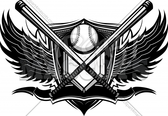 Baseball Design with Baseball or Softball Bats and Wings Background