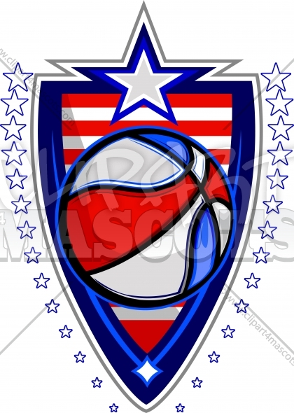 Memorial Day Basketball Ball with Flags and Stars on Badge