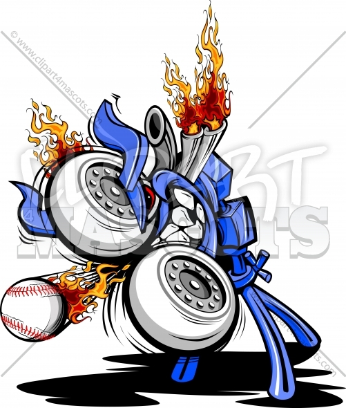 Pitching Machine Cartoon Baseball Monster Vector Illustraton