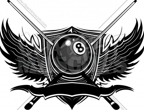 Eight Ball Logo Billiards Clipart with Ornate Wings Vector Illustration