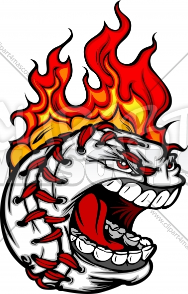 Screaming Baseball Face with Flaming Hair Vector Image