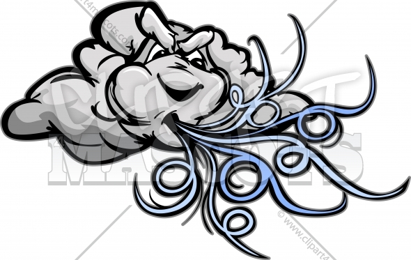 Wind Clipart of Storm Cloud Mascot Vector Cartoon