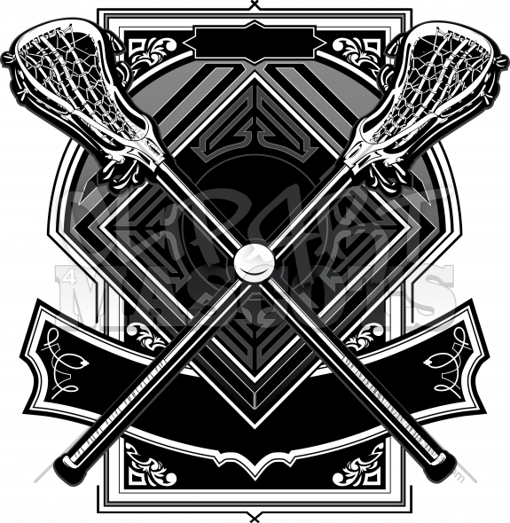 Lacrosse Logo Ball and Sticks Ornate Graphic Vector Template