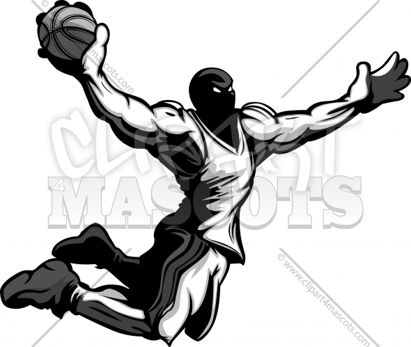 Basketball Dunk Cartoon Player Dunking Basketball Vector Illustration