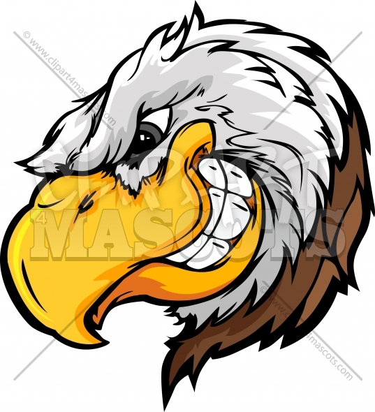 Clipart Eagle Mascot Head with Sly Expression Cartoon Illustration