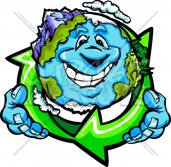 Earth Day Clipart of a Happy Planet Earth Holding Recycle Symbol Vector Cartoon