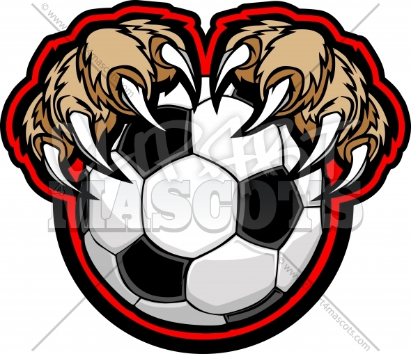 Cougar Claw Soccer Clipart Vector Illustration