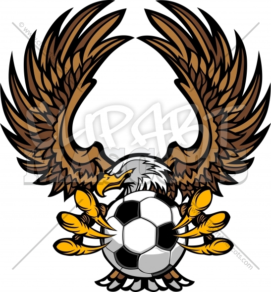 Soccer Eagle Clipart Logo Vector Illustration