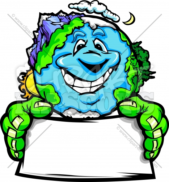 Environmental Clipart Planet Earth Holding Sign Vector Cartoon