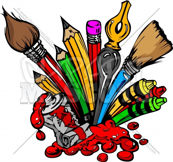 Art Supplies Clipart of Paints Brushes and Pencils
