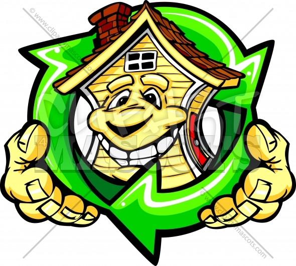 Energy Efficient House Clipart Holding Recycle Arrows Vector Cartoon