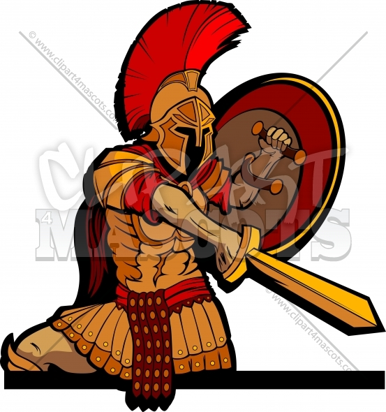 Spartan Clipart Mascot Body with Sword and Shield Vector Illustration