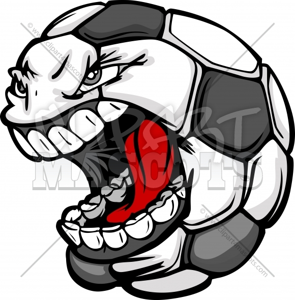 Angry Soccer Ball Screaming Face Cartoon Clipart Image