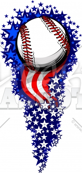 Stars Stripes Baseball Fireworks with Flags and Stars Fourth of July Clipart Image