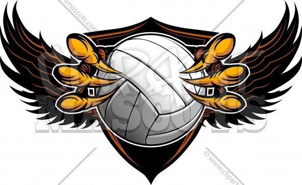 Eagle Volleyball Clipart with Talons and Claws Vector Illustration