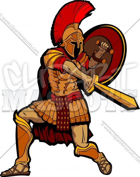 Spartan Clipart Warrior Standing with Sword and Shield Vector Illustration