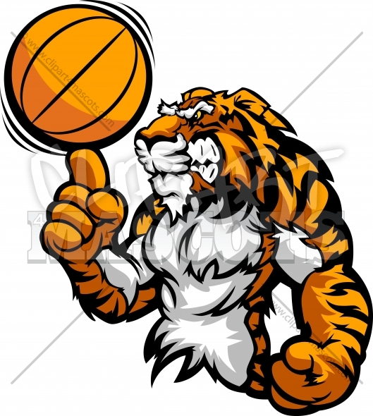 Basketball Tiger Mascot Spinning Basketball Ball on Victory Finger Clipart Image