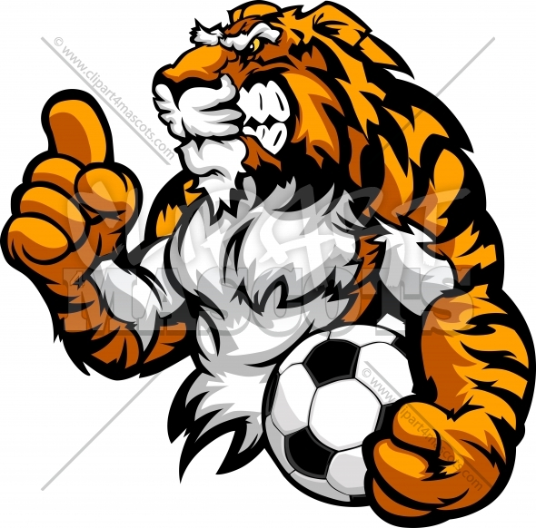 Soccer Tiger Clipart Mascot holding Soccer Ball with Victory Finger Raised