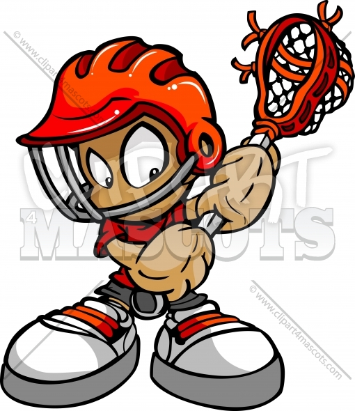 Lacrosse Kid Clipart – Vector Image of a Boy Lacrosse Player with Stick
