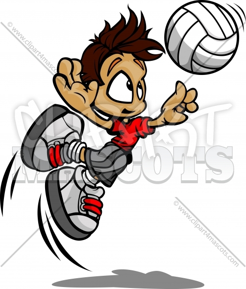 Volleyball Boy Clipart – Vector image of Player Spiking Ball