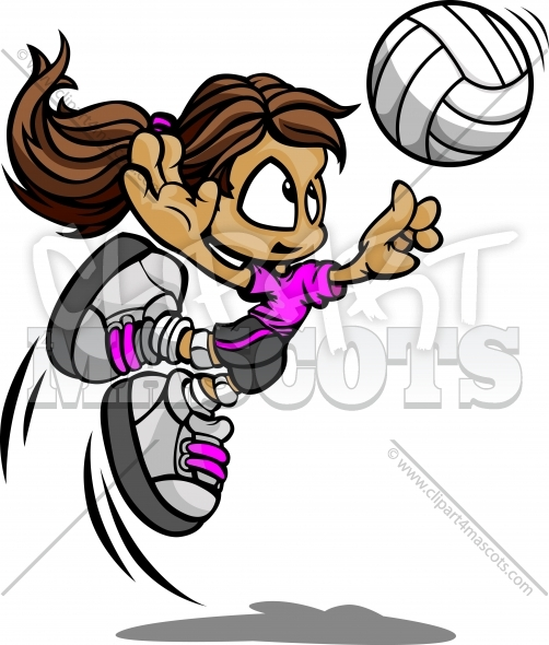 Volleyball Girl Clipart – Vector Image of Volleyball Player Spiking Ball