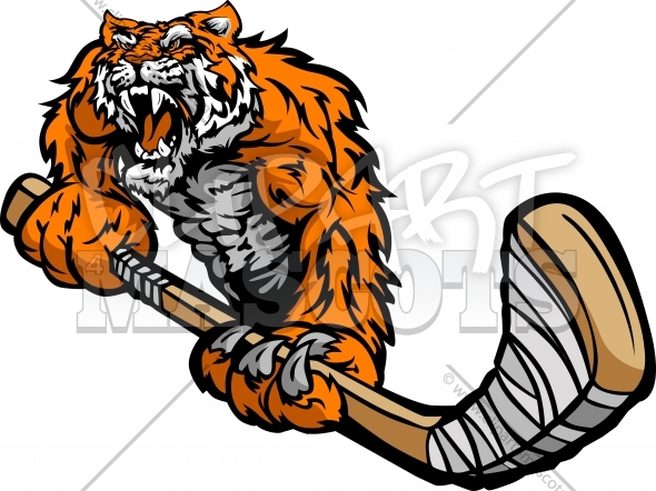 Hockey Tiger Cartoon Vector Image
