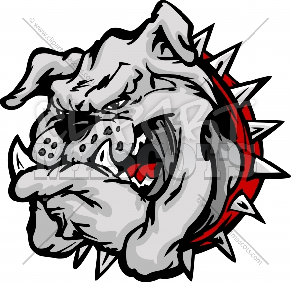 Bulldog Mascot Cartoon Face Vector Clipart Illustration