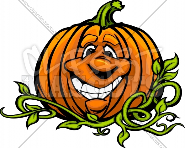 Pumpkin Cartoon Head Vector Clipart Illustration
