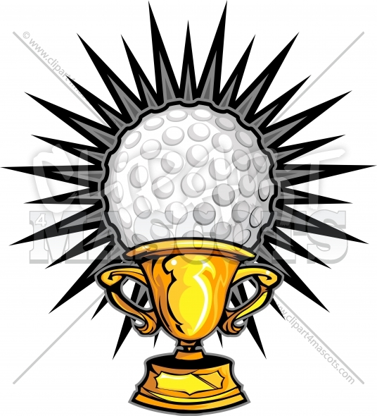 Golf Champion Logo Trophy Vector Clipart Image