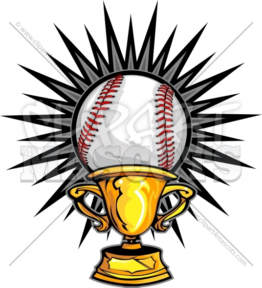 Baseball Champion Logo Trophy Vector Clipart Image