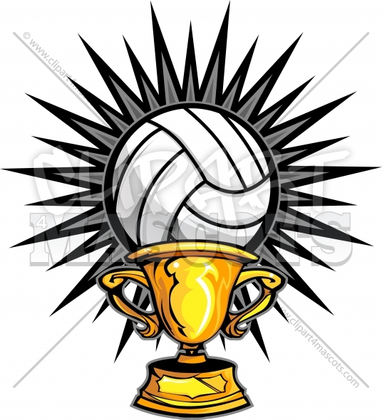 Volleyball Champion Logo Trophy Vector Clipart Image