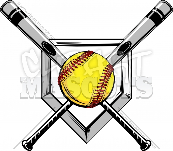 Softball Design of Bats over Home Plate Vector Clipart