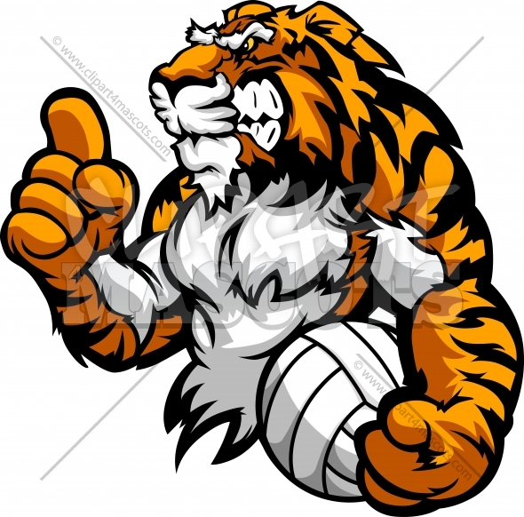 Tiger Volleyball Vector Clipart Image