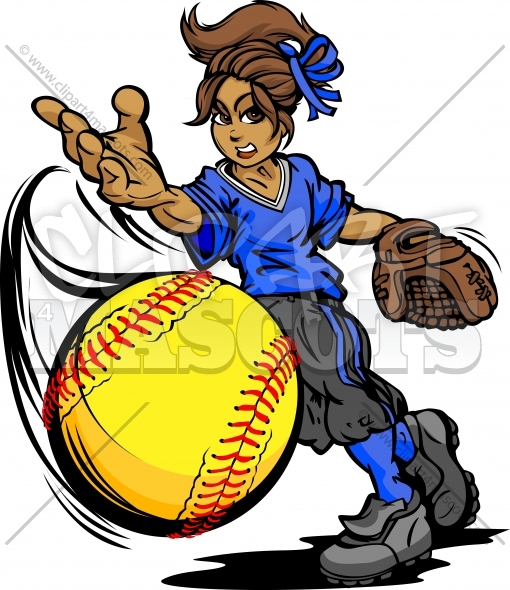 Fastpitch Softball Girl -Girl Pitching Fast Pitch Softball Vector Clipart Image