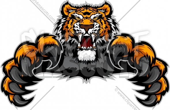 Tiger Clipart with Extended Claws Vector Mascot Image