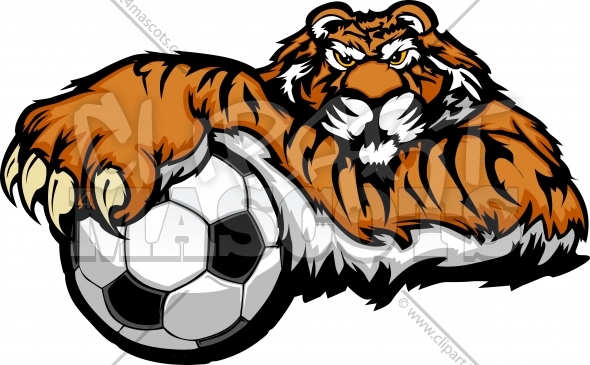Tiger Mascot with Soccer Ball Vector Illustration - Clipart 4 Mascots ...