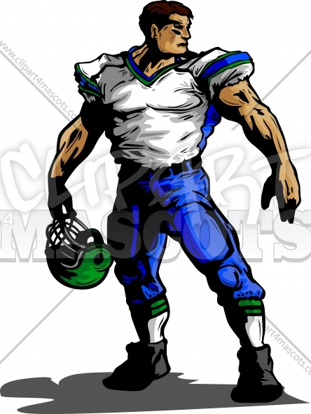 Vector Football Player Holding Helmet Clipart Image