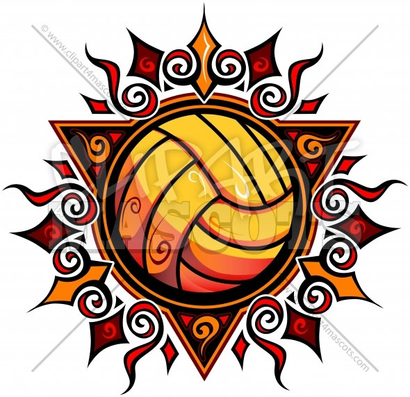Volleyball Sun Clipart Vector Image