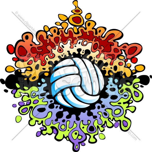 Fun Volleyball Art Vector Clipart Image