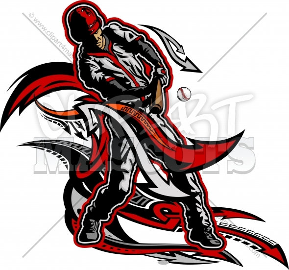 Baseball Batter Artwork – Baseball Player Swinging at Pitch Clipart Image