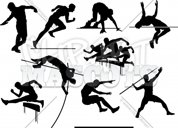 Vector Track and Field Silhouettes Clipart Images
