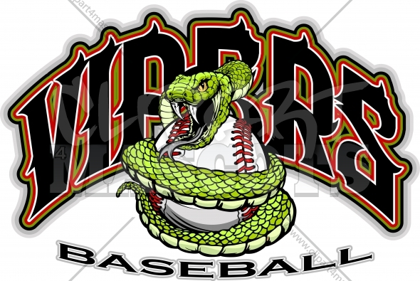 Vipers Baseball Logo – Snake Mascot wrapped around a Baseball Ball Vector Illustration